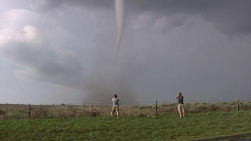 Reed and Joel in front of tornado